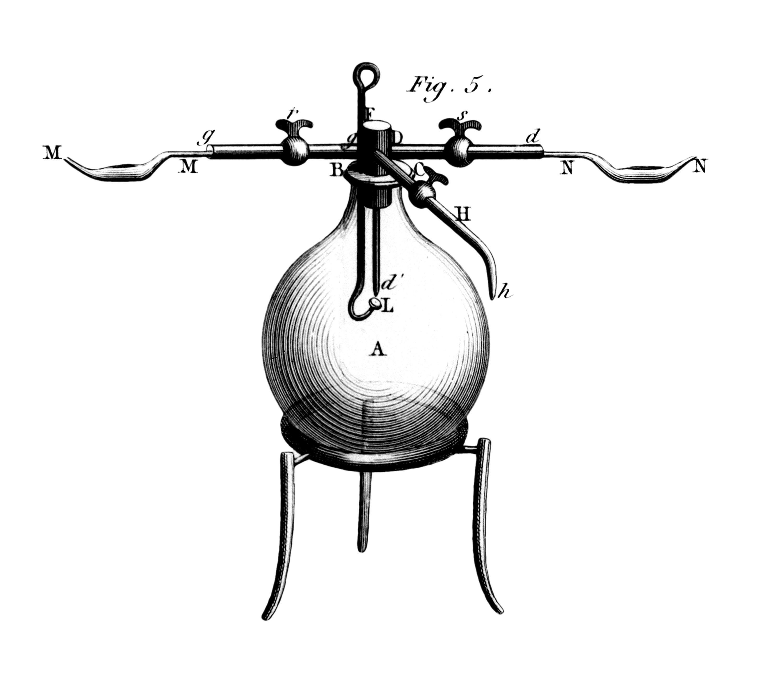 <stamp theme='pc-green1'>Doc. 3</stamp> Ballon utilisé par Lavoisier pour la synthèse de l'eau.