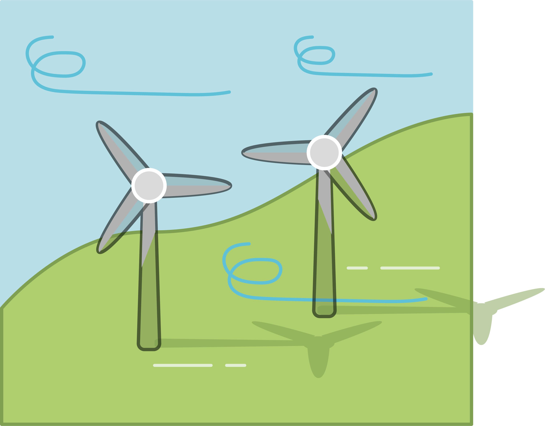 <stamp theme='pc-green1'>Doc. 2</stamp> Les éoliennes exploitent l'air en mouvement.