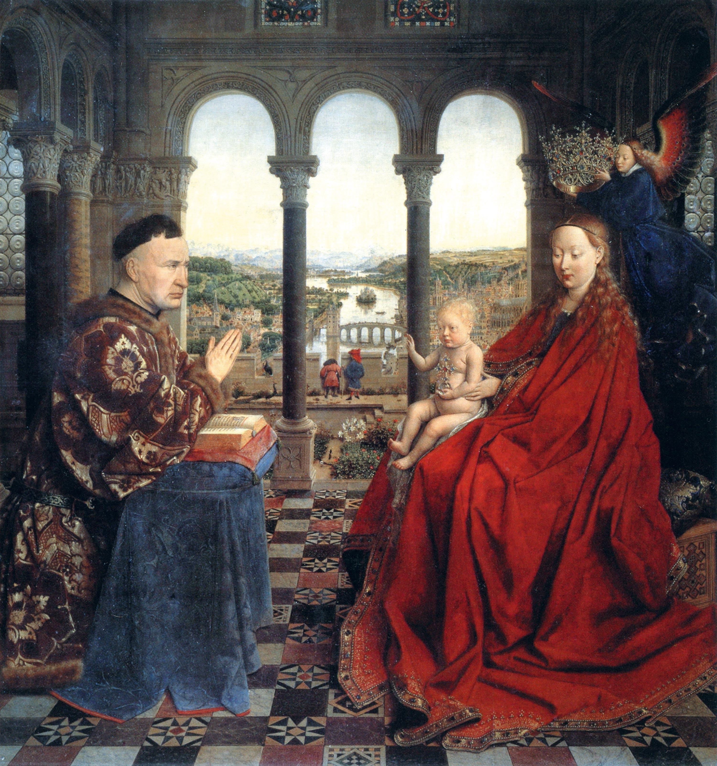 <stamp theme='pc-green1'>Doc. 2</stamp> La vierge du chancelier Rolin, J. Van Eyck, 1435