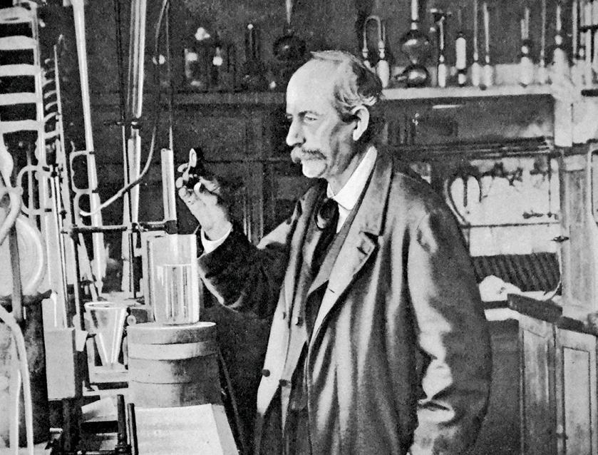 Berthelot dans son laboratoire de Meudon