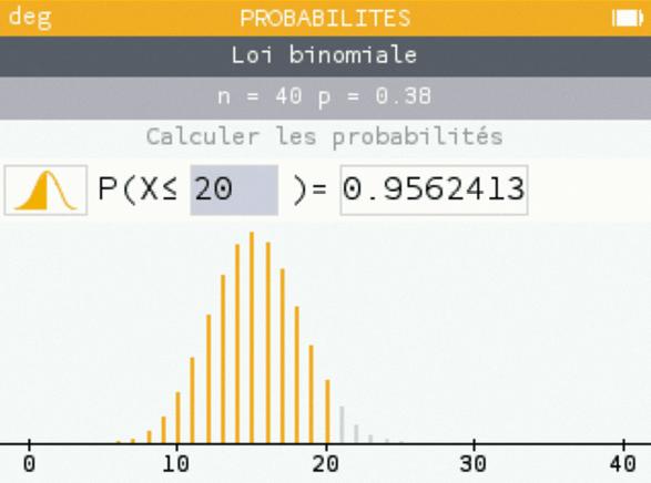 Maths spé - Chapitre 12 - Loi binomiale - Cours - Introduction à l'échantillonnage - écran de calculatrice