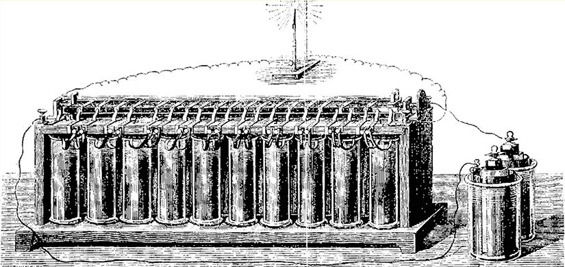 Représentation de la première batterie électrique rechargeable