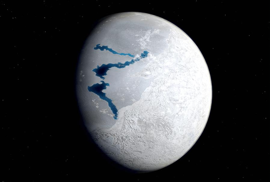 PC Tel - chapitre 16 - Bilans d'énergie thermique - exercice 40 - Vue d'artiste de la Terre lors de l'une de ses ères glacières.