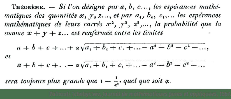 math spécialité - activité - histoire des mathématiques - Deux inégalités pour la loi des grands nombres - Pafnouti Tchebychev, Journal de mathématiques pures et appliquées, 1867.