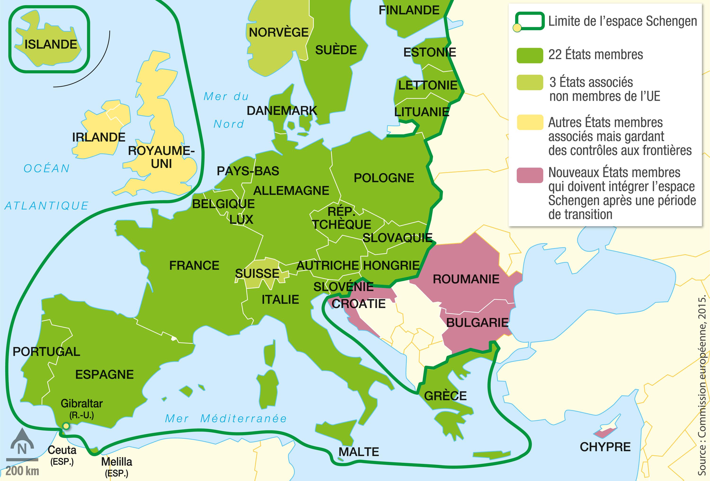 <stamp theme='his-green2'>Doc. 3</stamp> L'espace Schengen, un espace de libre circulation