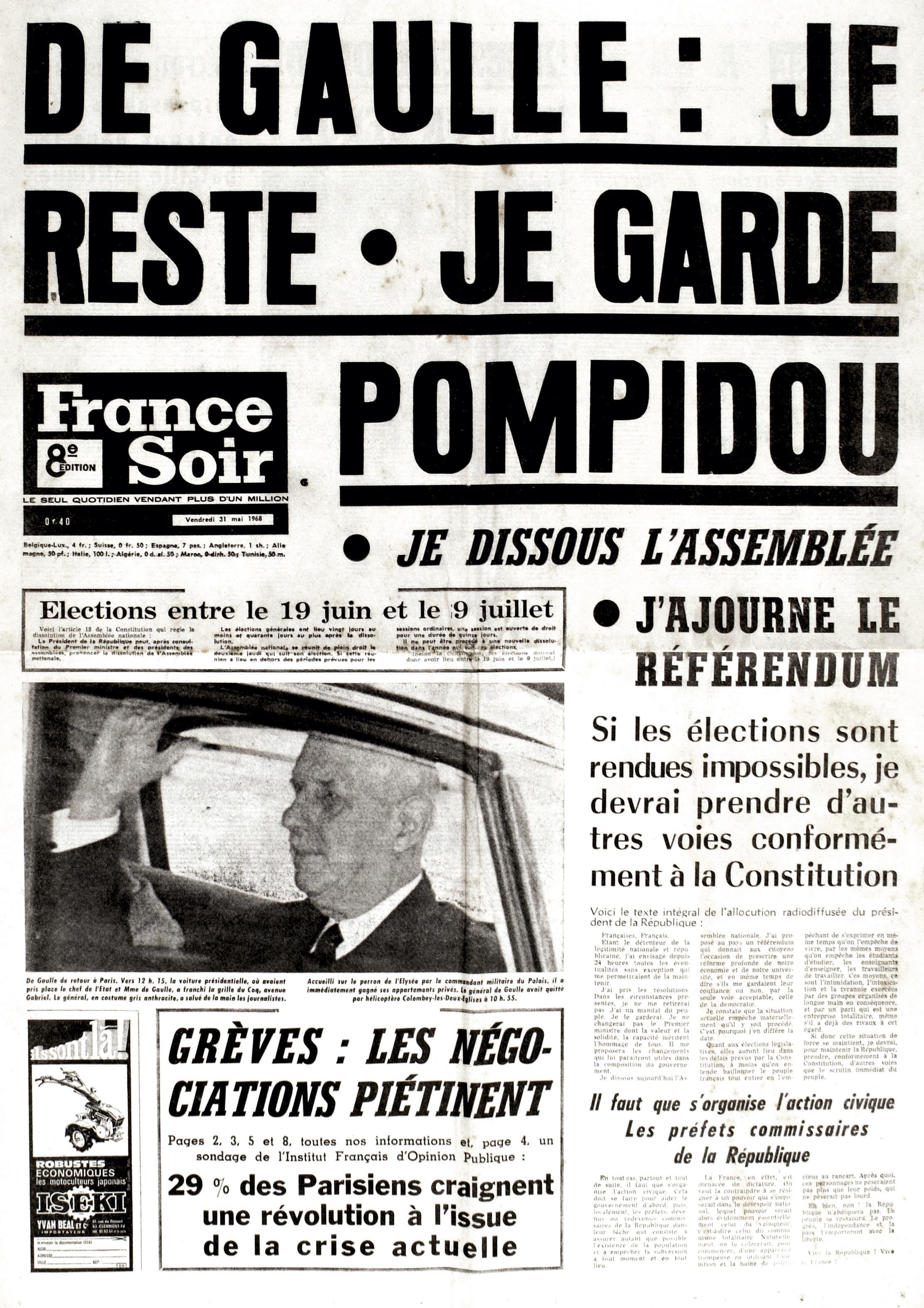 <stamp theme='his-green2'>Doc. 5</stamp> La crise politique de Mai 68