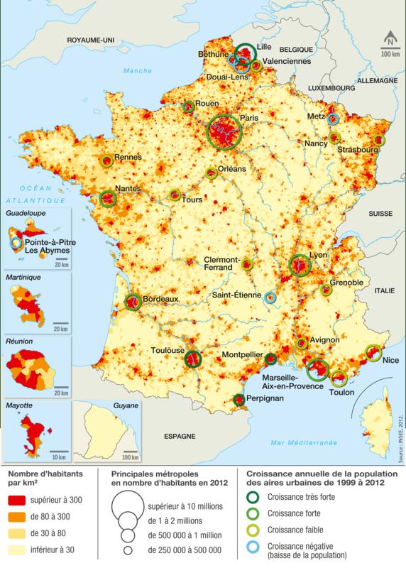 <stamp theme='his-green2'>Doc. 2</stamp> La population urbaine en France: répartition et dynamiques