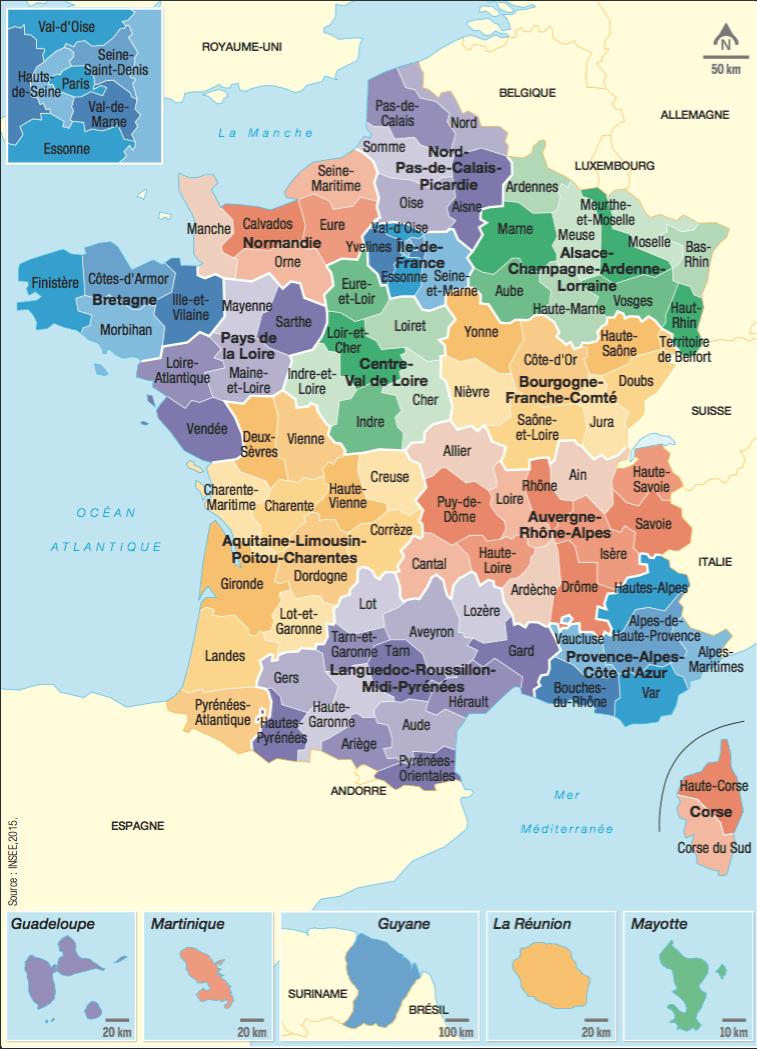 <stamp theme='his-green2'>Doc. 1</stamp> Les régions et départements français