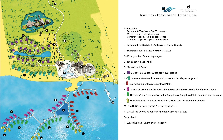 <stamp theme='his-green2'>Doc. 1</stamp> Plan de l'hôtel Bora Bora Beach Resort