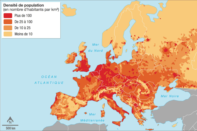 <stamp theme='his-green2'>Doc. 2</stamp> Les densités de population en Europe