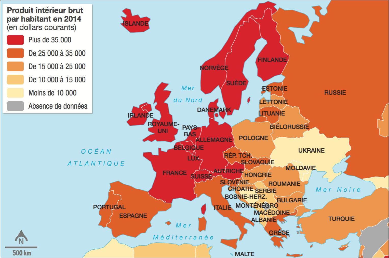 <stamp theme='his-green2'>Doc. 3</stamp> Le PIB par habitant en Europe