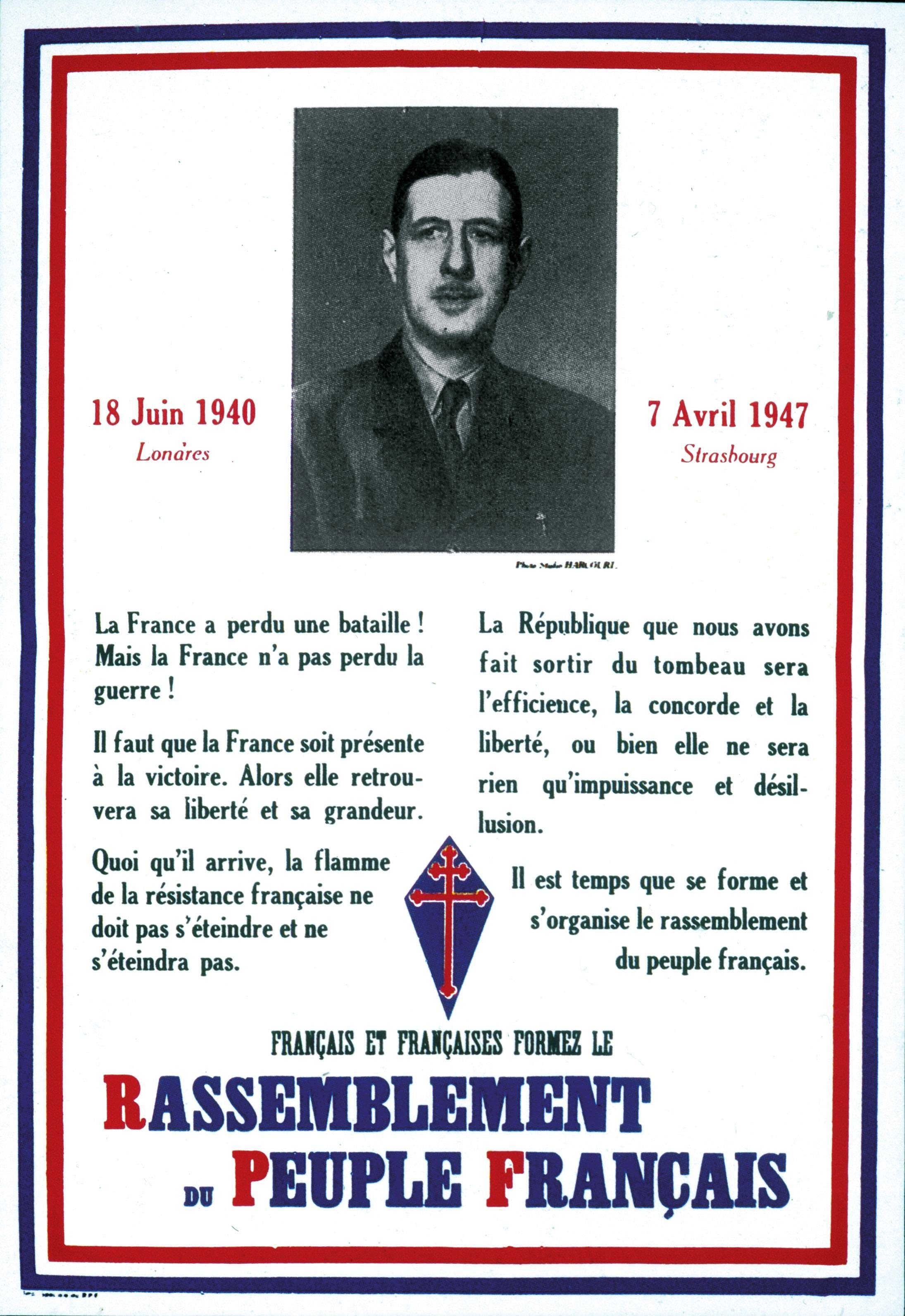 <stamp theme='his-green2'>Doc. 1</stamp> La fondation du parti politique de De Gaulle.
