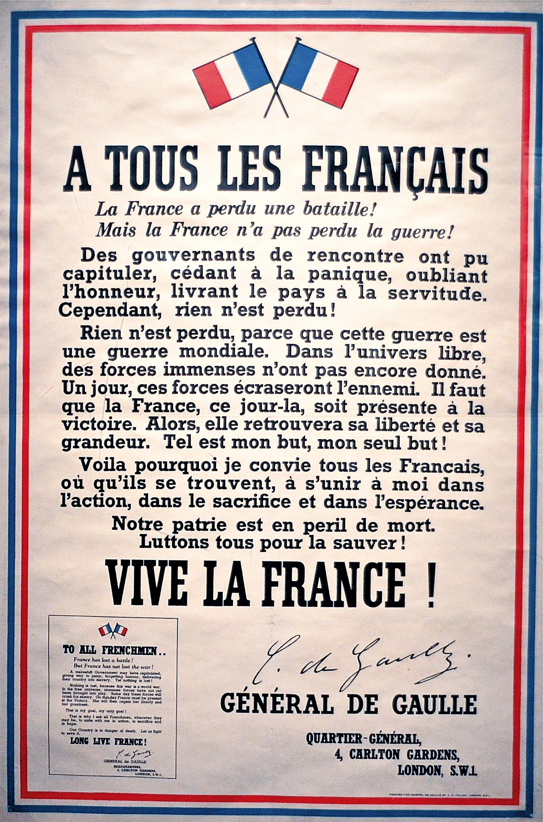 <stamp theme='his-green2'>Doc. 1</stamp> L'appel de De Gaulle