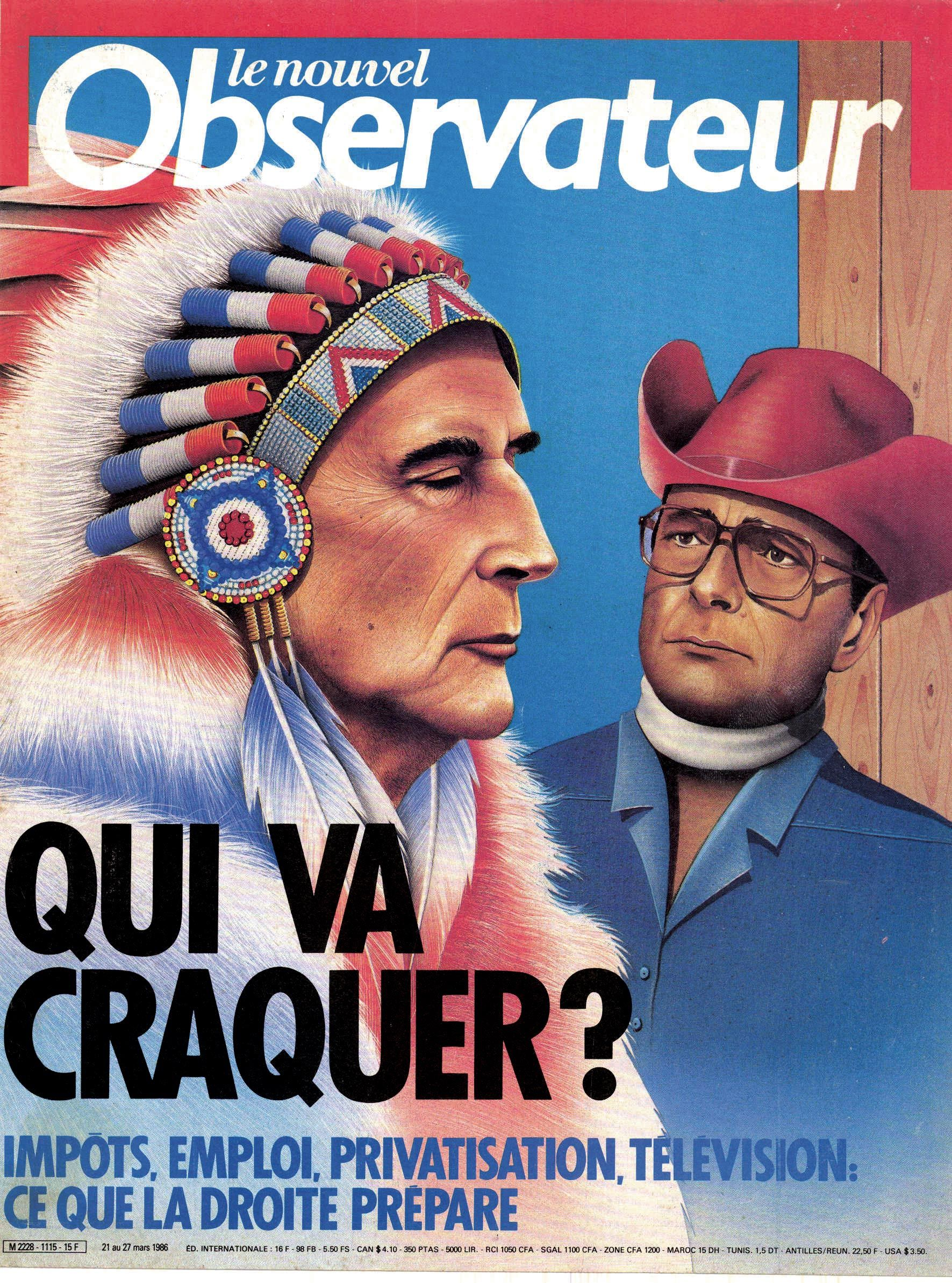 <stamp theme='his-green2'>Doc. 2</stamp> Une du magazine Le nouvel Observateur pour la première cohabitation, entre François Mitterrand et Jacques Chirac en 1986.