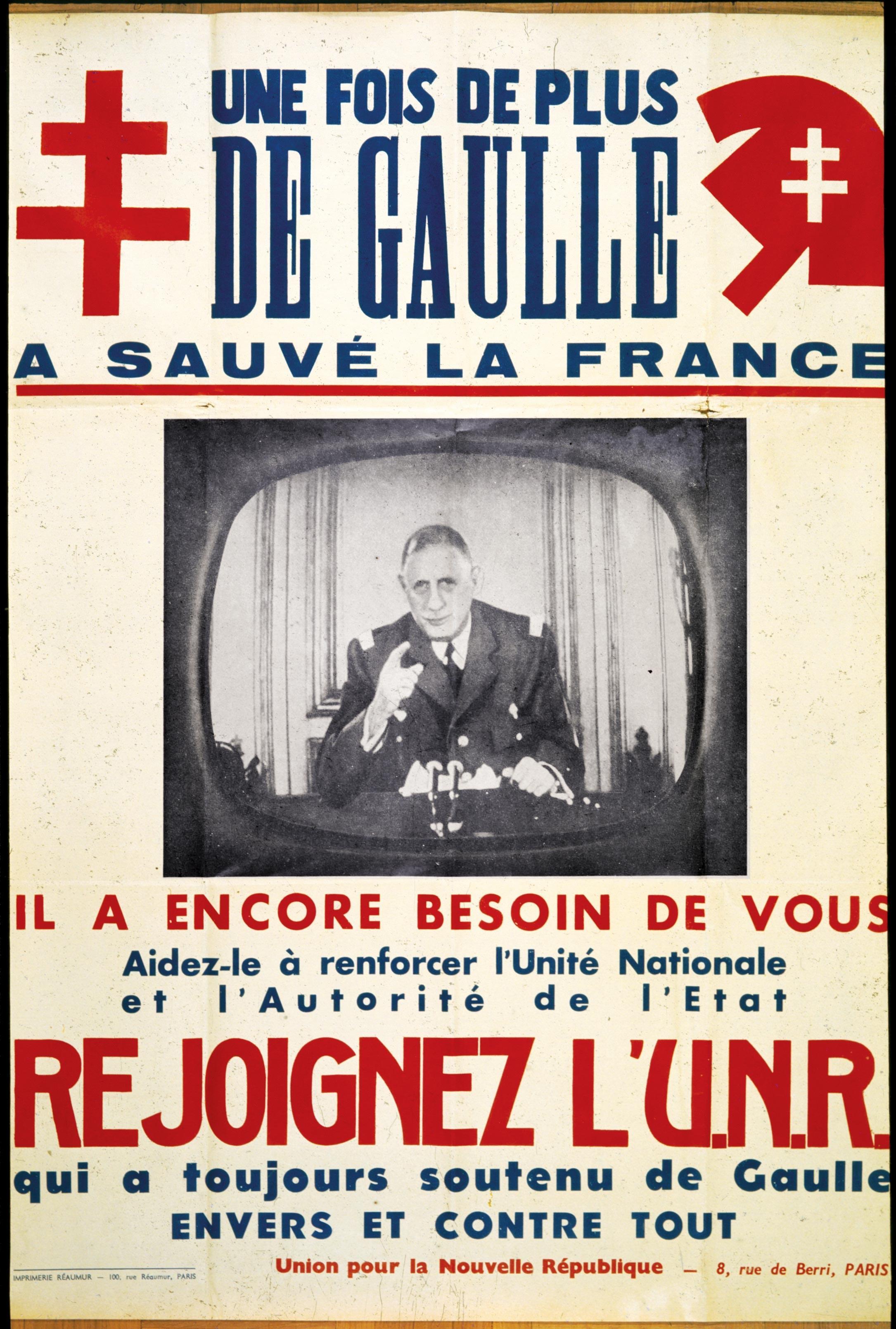 <stamp theme='his-green2'>Doc. 3</stamp> Affiche de l'UNR, parti politique de De Gaulle