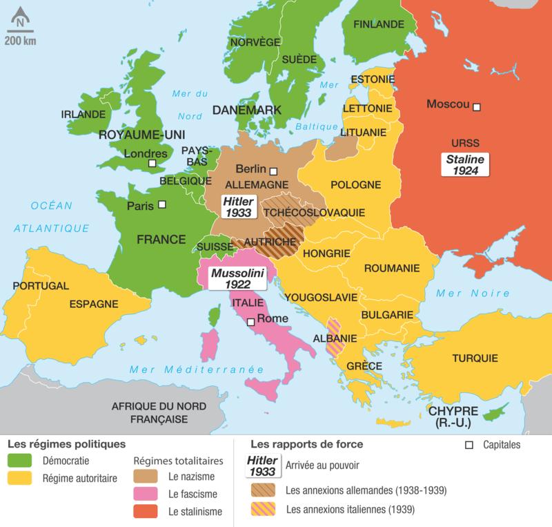 Les régimes politiques en Europe en 1938