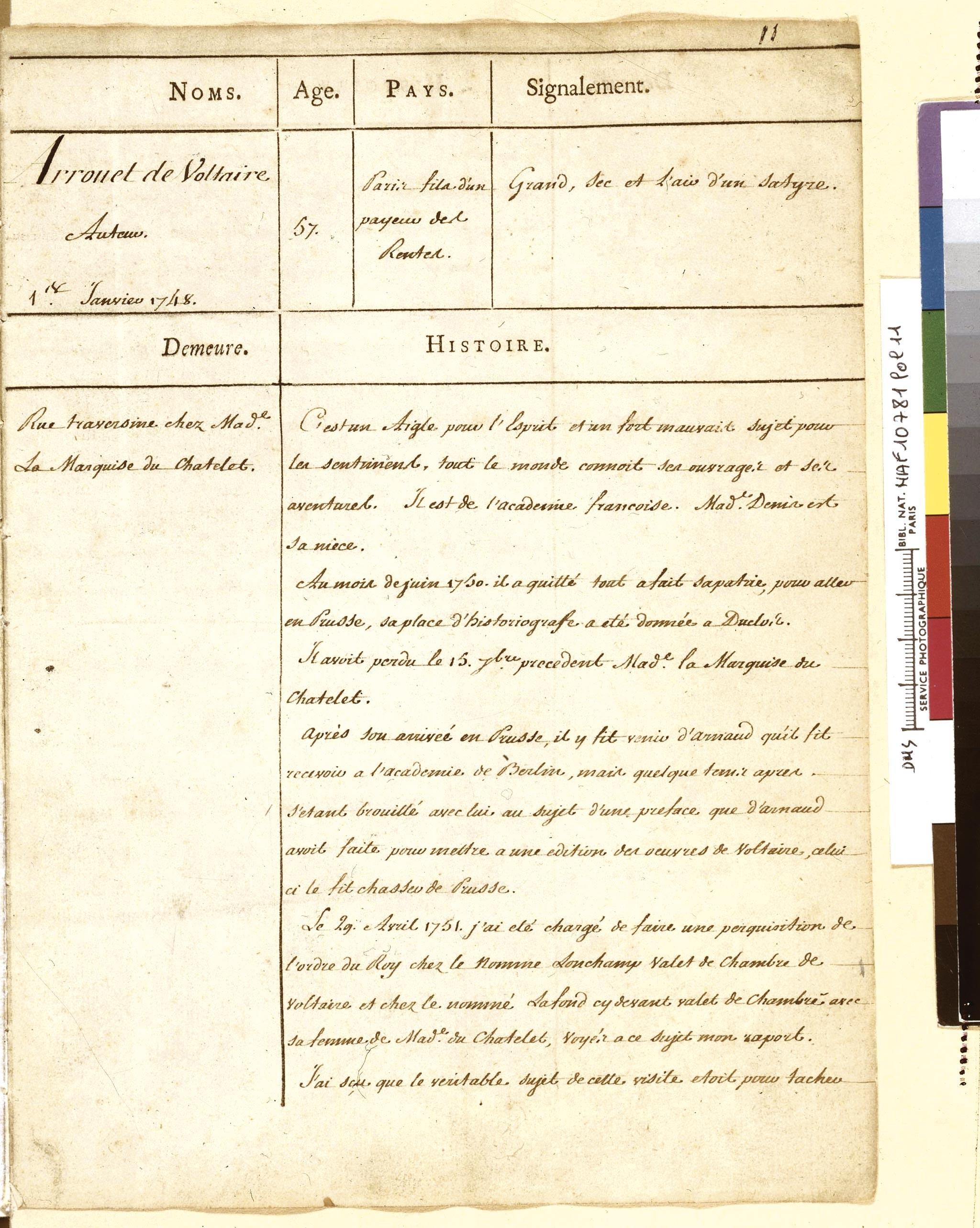 <stamp theme='his-green2'>Doc. 1</stamp> Notes de police sur des écrivains français du milieu du XVIIIᵉ siècle