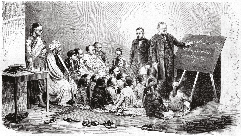 Illustration d'une école publique de garçons en Algérie