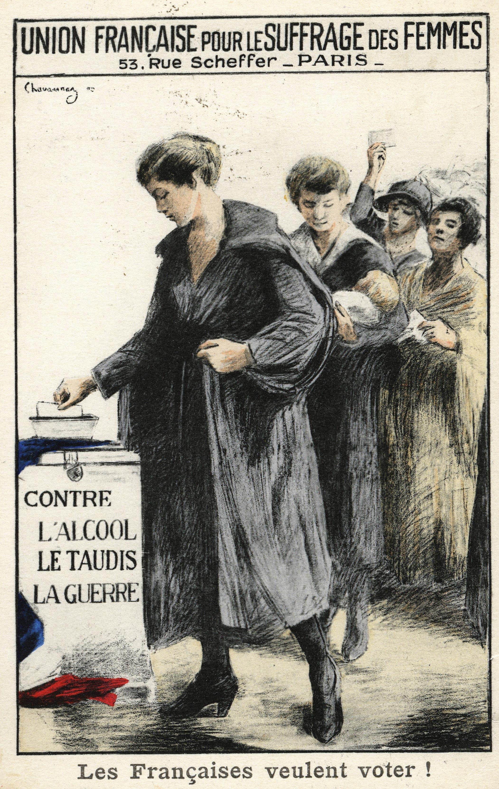 Union française pour le suffrage des femmes, illustration de Chavannas, carte postale, 1909