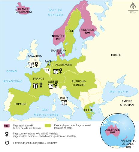 <stamp theme='his-green2'>Doc. 1</stamp> La difficile obtention du droit de vote pour les femmes en Europe
