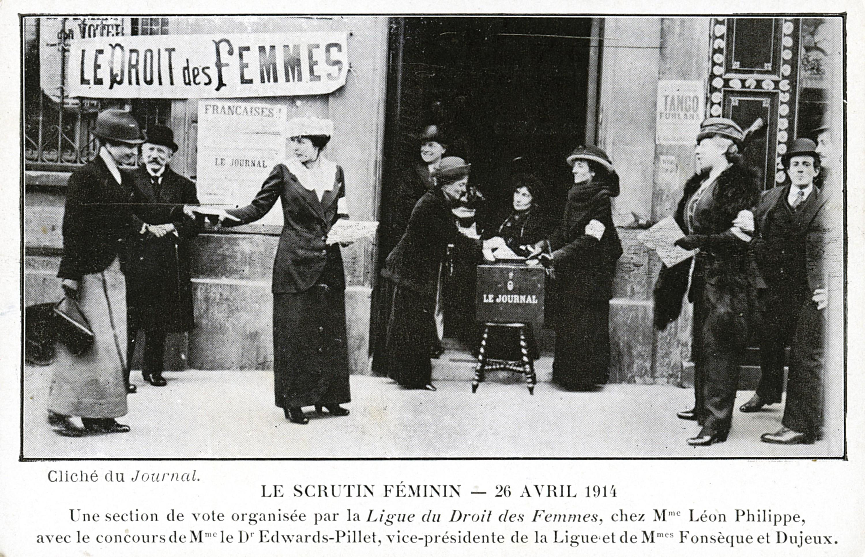 Bureau de vote militant en 1914