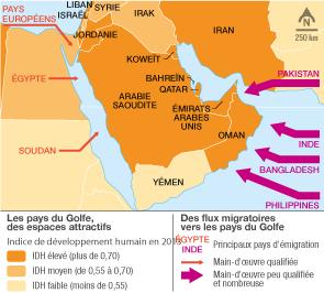 <stamp theme='his-green2'>Doc. 3</stamp> Les flux migratoires en direction des pays du Golfe