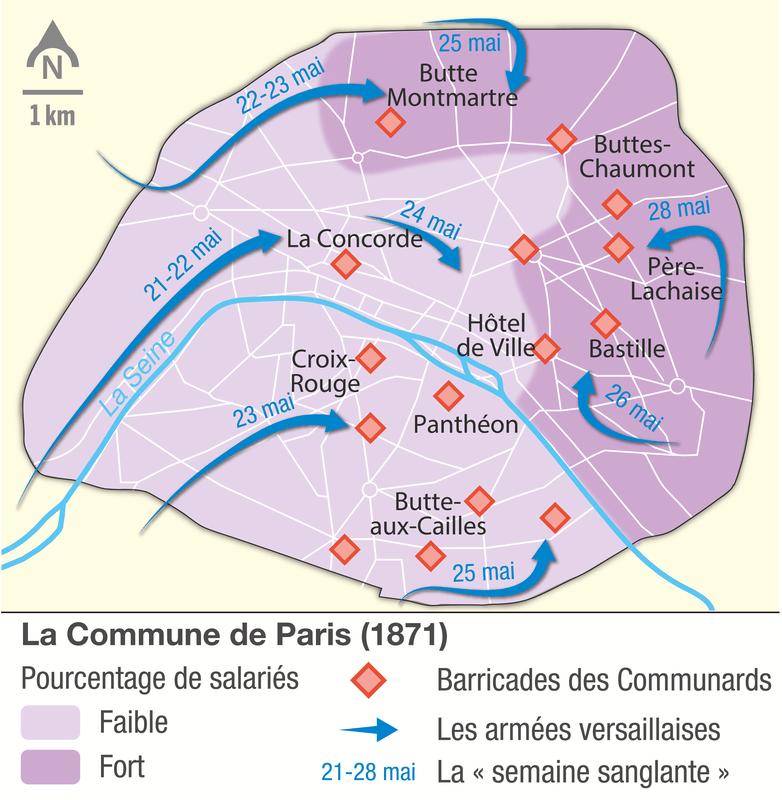 Carte de la Commune de Paris