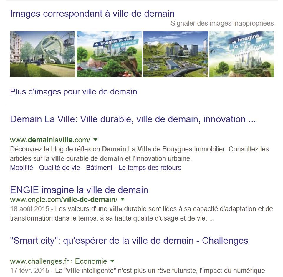 <stamp theme='his-green2'>Doc. 3</stamp> La recherche «ville de demain» sur internet