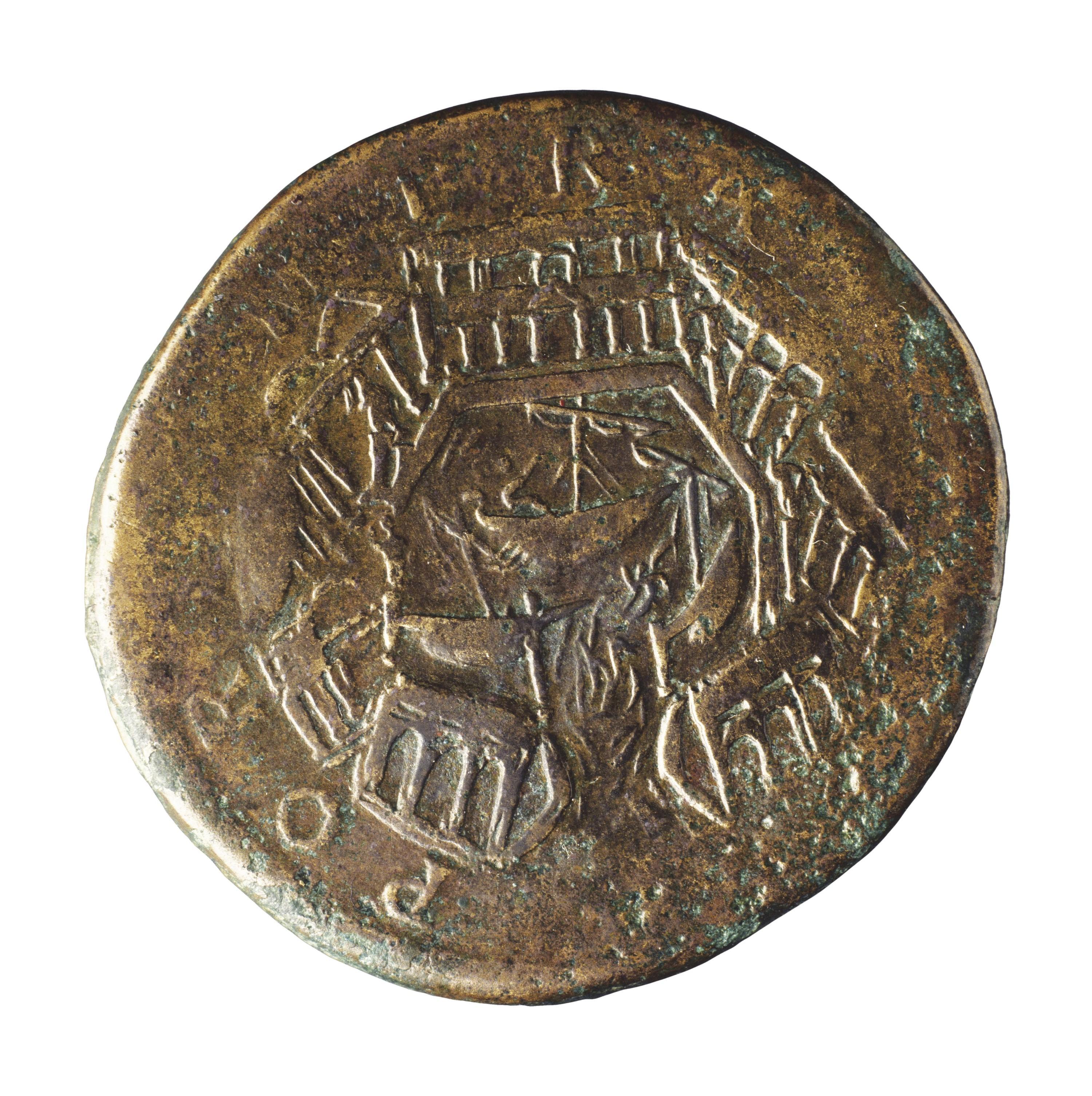 Monnaie avec le port romain d'Ostie