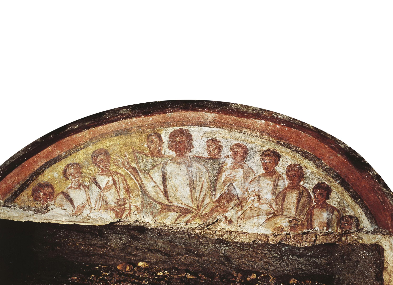 Une fresque de la catacombe de Domitille