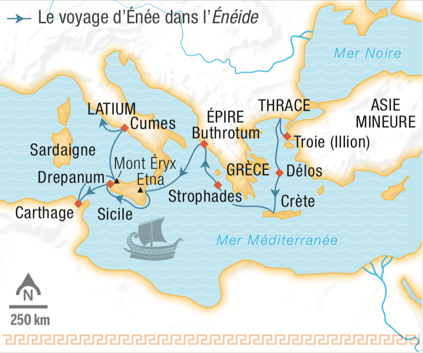 Voyage d'Énée dans l'Énéide - carte