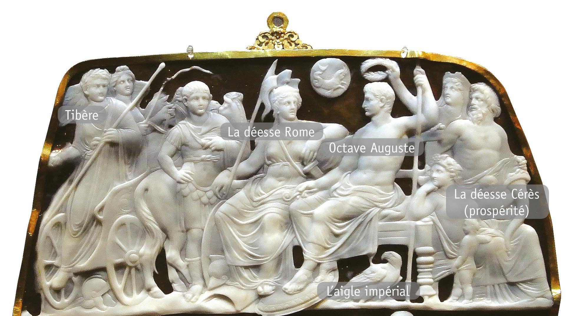 <stamp theme='his-green2'>Doc. 1</stamp> Octave Auguste entouré des dieux romains