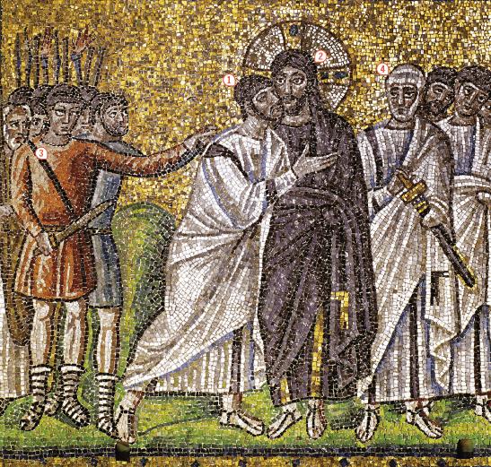 <stamp theme='his-green2'>Doc. 1</stamp> Jésus, entouré de ses apôtres, est arrêté par les soldats romains