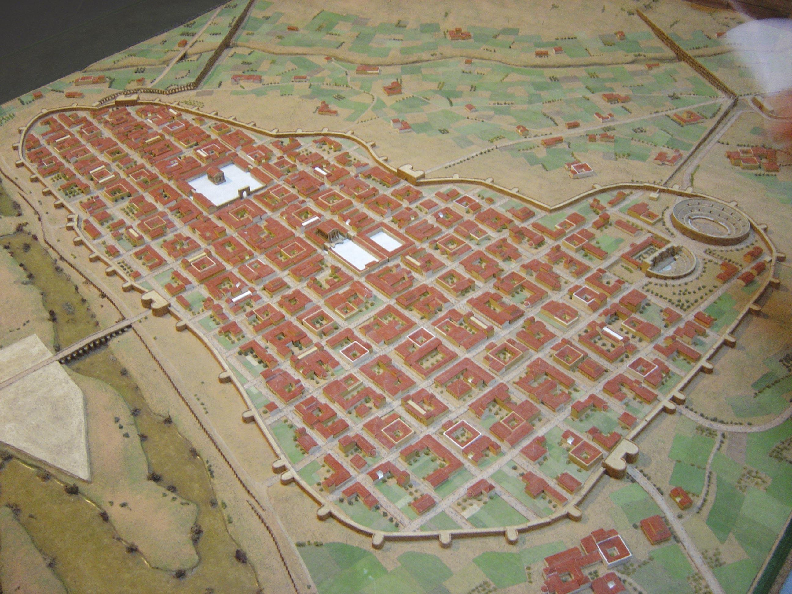 <stamp theme='his-green2'>Doc. 2</stamp> Reconstitution de la ville romaine d'Emerita Augusta sous l'Empire