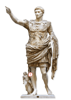 <stamp theme='his-green2'>Doc. 1</stamp> Statue d'Octave Auguste en général vainqueur (imperator)