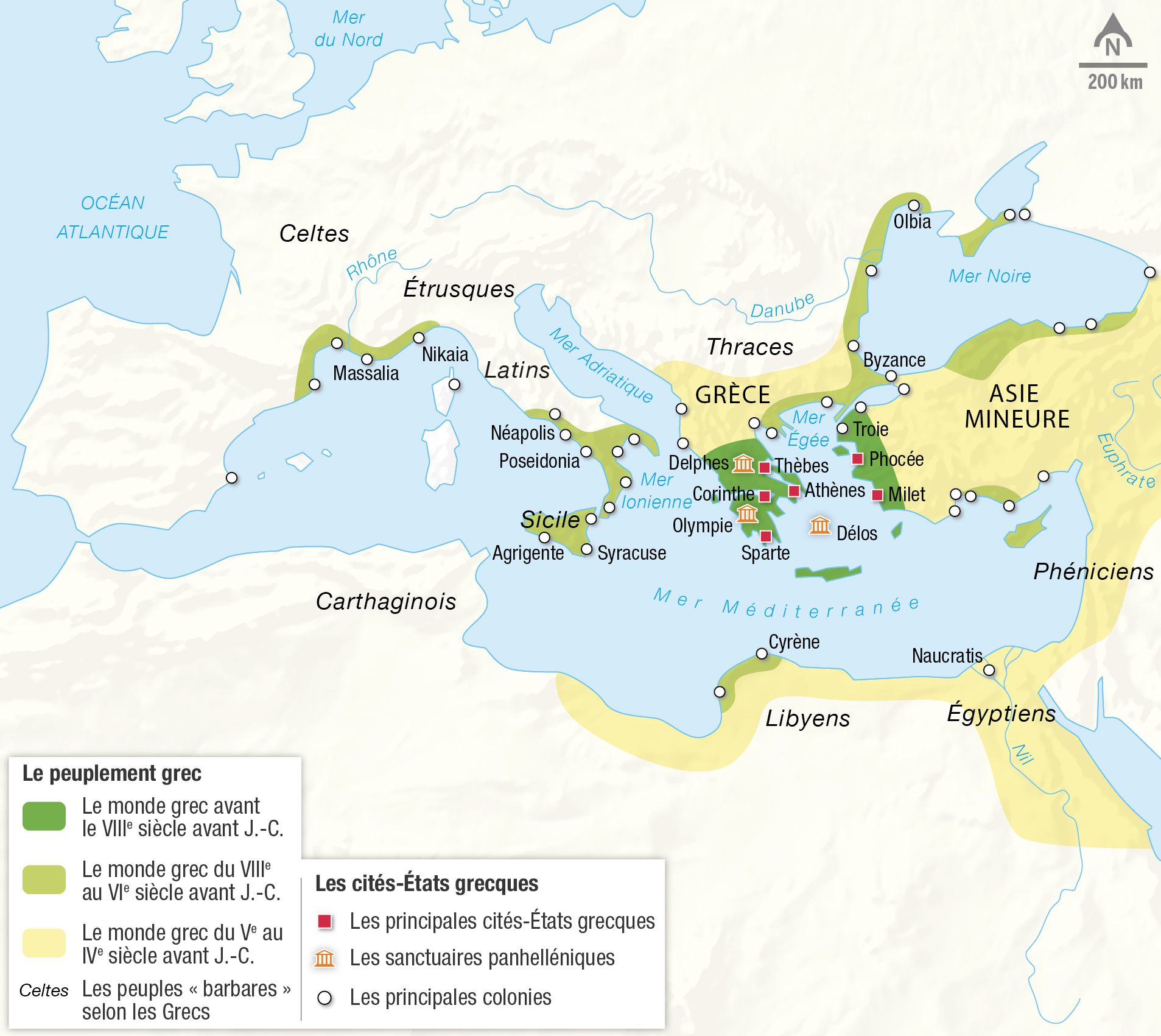 <stamp theme='his-green2'>Doc. 2</stamp> La Méditerranée et le monde grec au Ier millénaire avant J.-C.