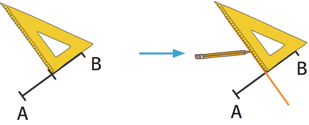 Refaire : Tracer une médiatrice avec une règle graduée et une équerre.