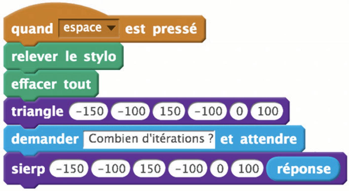 Programme utilisant les blocs « triangles » et « sierp ».