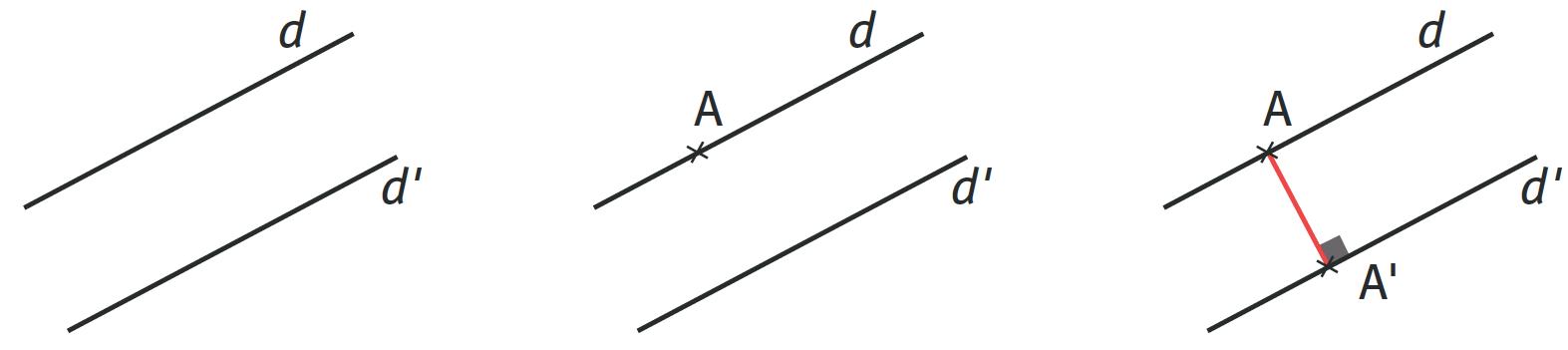 Refaire : Calculer la distance entre les droites parallèles $$d$$ et $$d'$$.