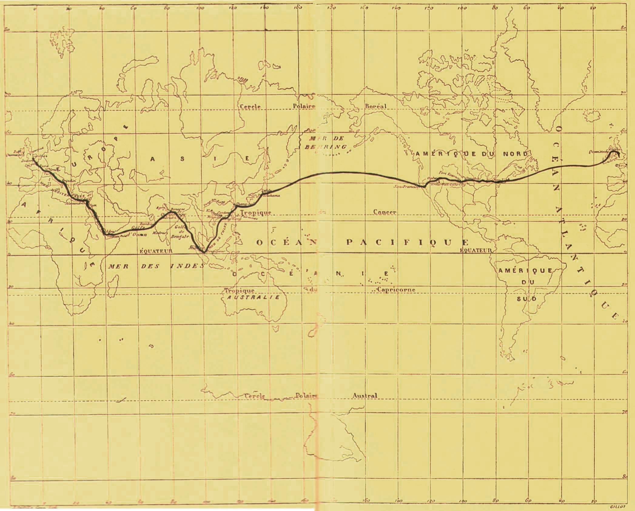 Cartes du trajet de Phileas Fogg.