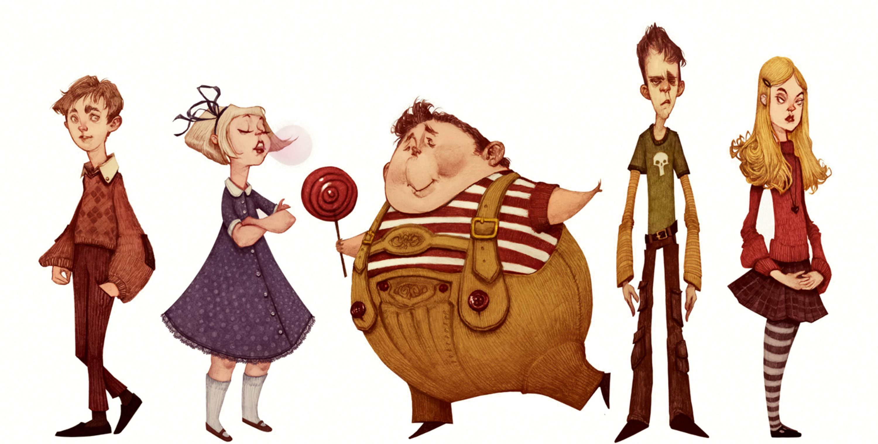 Original character designs for Charlie And The Chocolate Factory