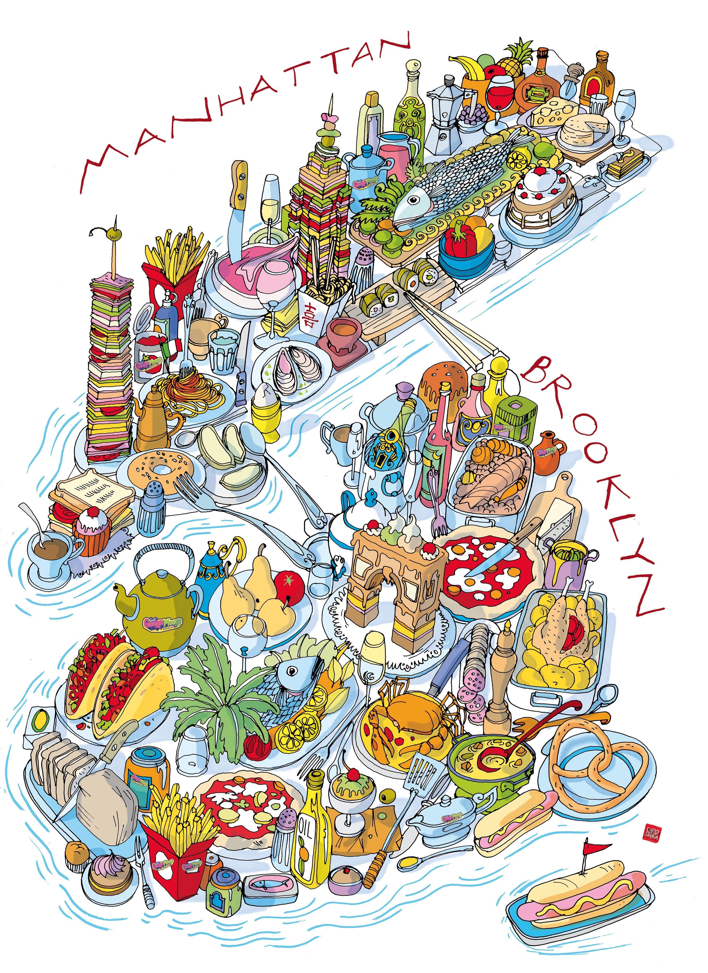 Manhattan and Brooklyn Food Map