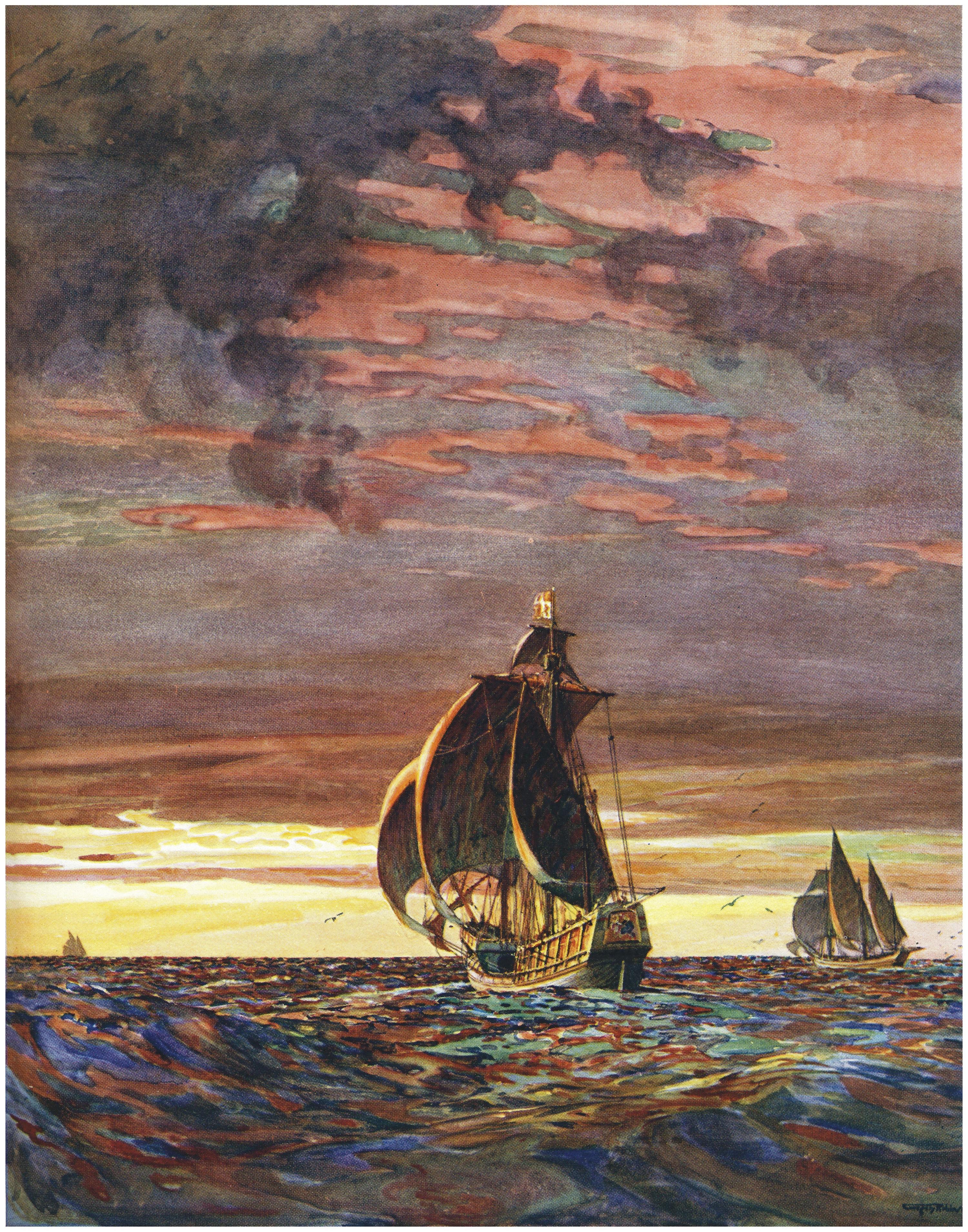La Santa Maria en 1492, 1936, lithographie couleur (collection privée).