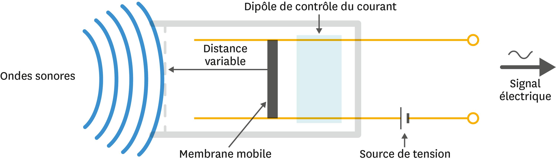 <stamp theme='pc-green1'>Doc. 3</stamp> Principe du fonctionnement du microphone. La membrane est commune à tous les dispositifs.