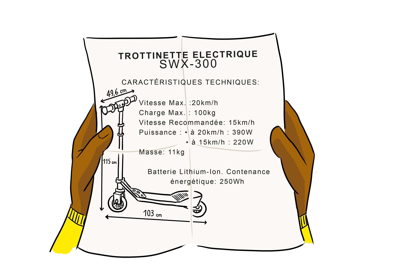 <stamp theme='pc-green1'>Doc. 2</stamp> Caractéristiques techniques de la trottinette électrique.