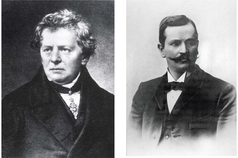 ▲ Georg Ohm (1789-1859), à gauche, a découvert la loi qui porte son nom, et Paul Drude (1863-1905), à droite, en a proposé une explication théorique.