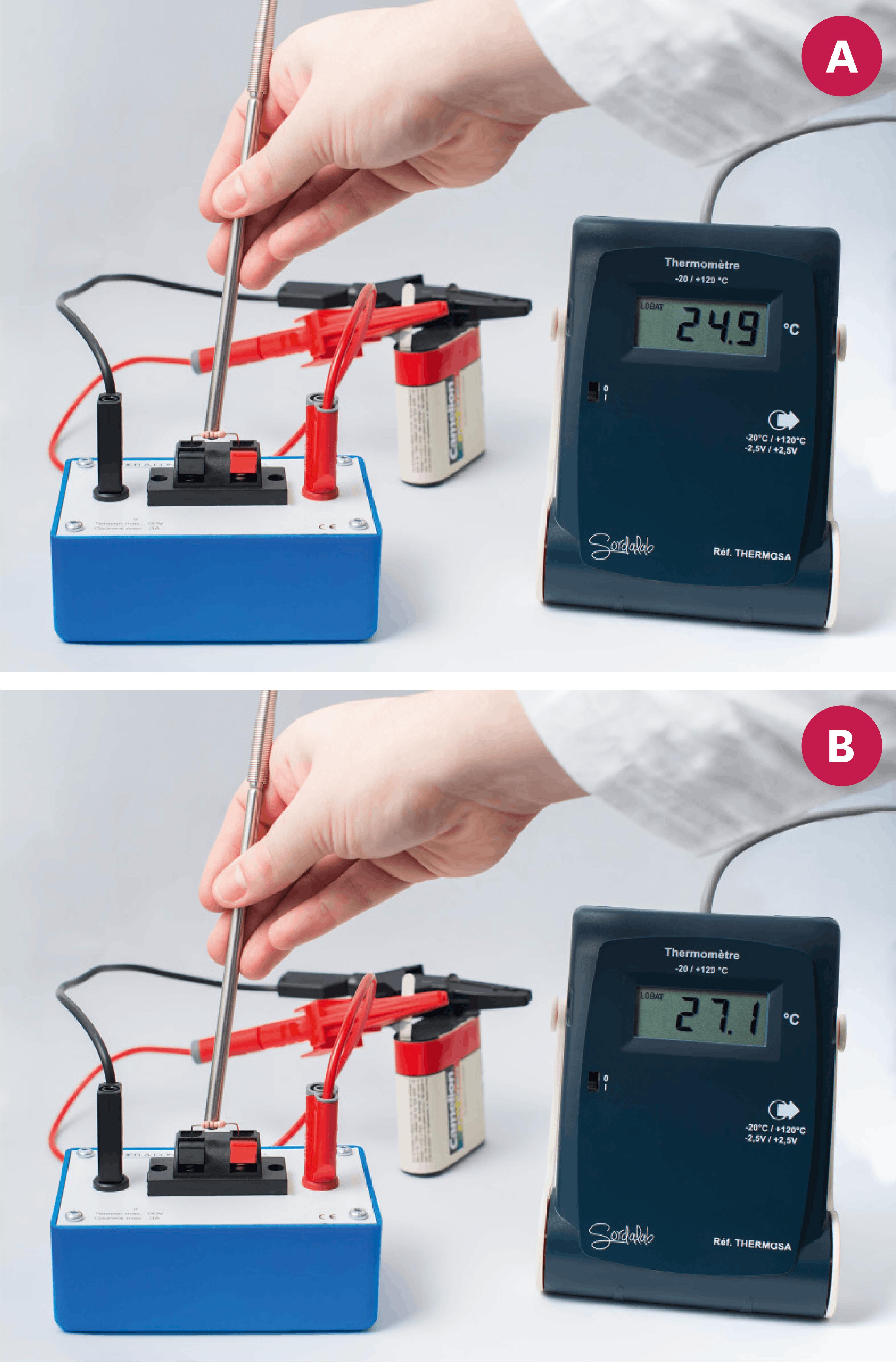 <stamp theme='pc-green1'>Doc. 3</stamp> Mesure de la température d'un résistor avant (A) et après (B) quelques minutes de circulation du courant électrique.