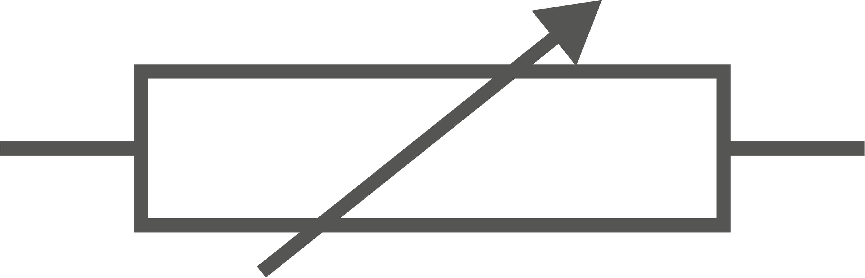 Symbole d'une résistance variable.