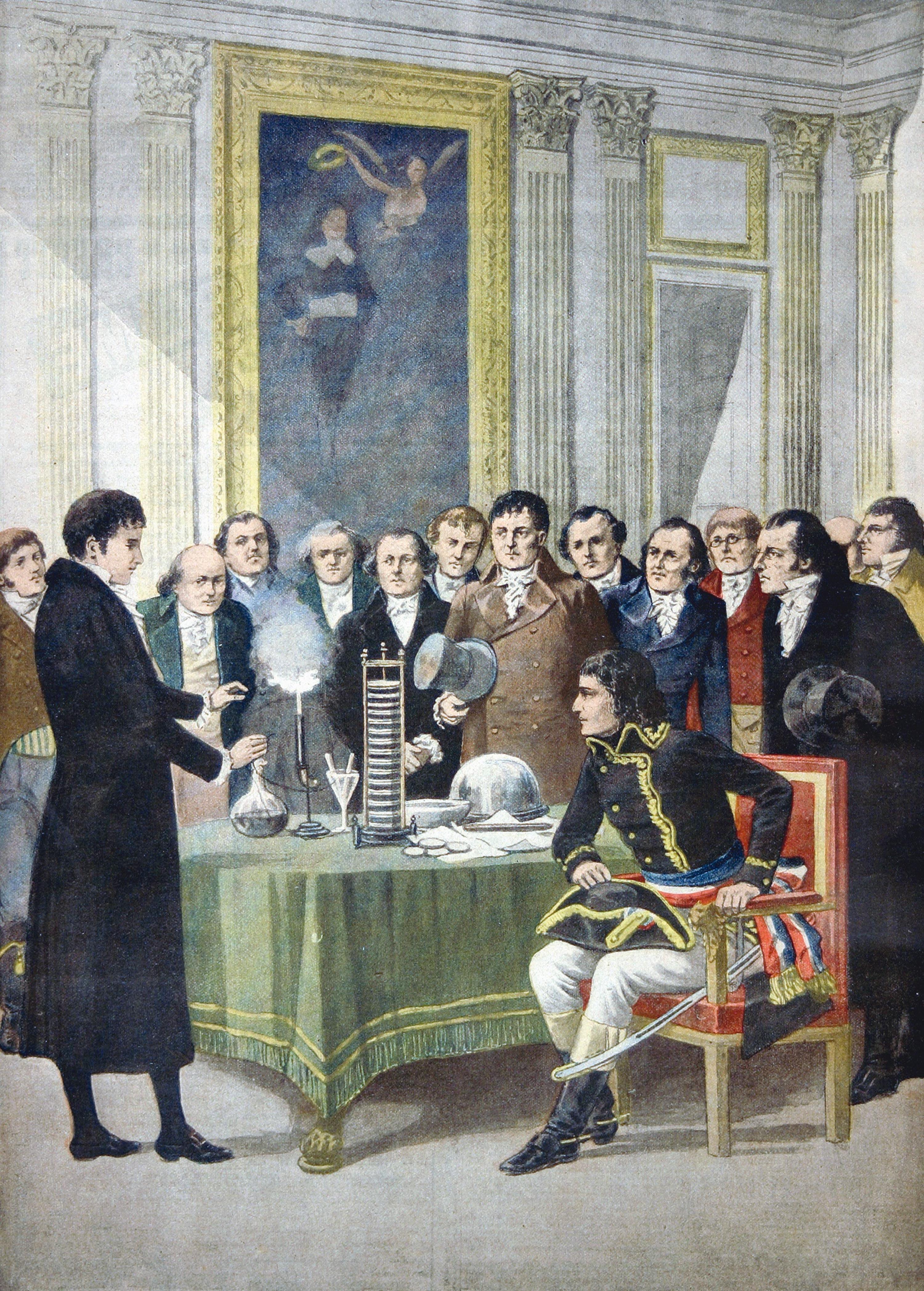 <stamp theme='pc-green1'>Doc. 2</stamp> Volta présente son invention à Napoléon Bonaparte.