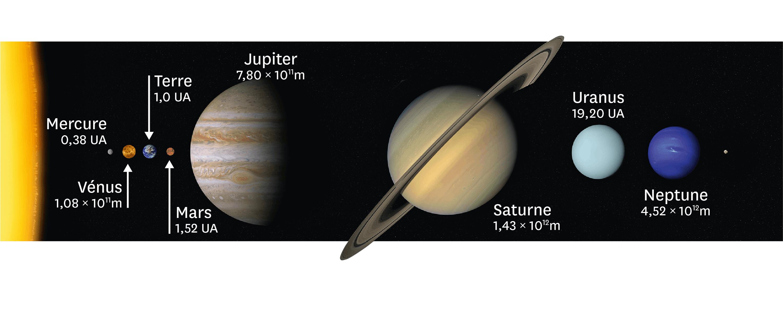 Les planètes du système solaire et le rayon de leurs orbites.